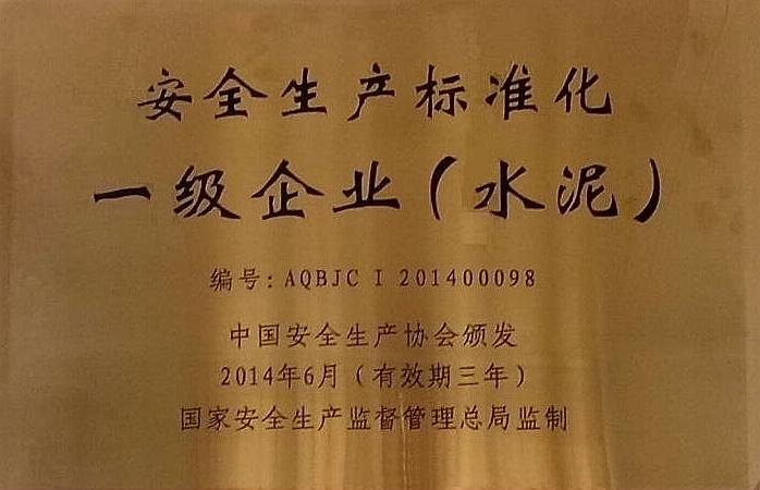 """荣获""""安全标准化一级企业(必威体育手机版本)""""称号"""